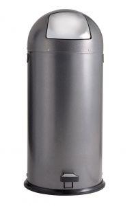 T106024 Dapple Silver Steel Push Pedal bin 52 liters