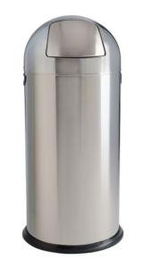 T106031 Poubelle acier inox brillant à trappe push 52 litres