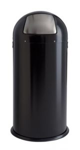 T106033 Papelera push metal negro con apertura push inox 52 litros