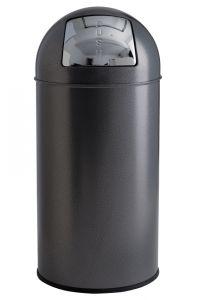T106052 Poubelle à trappe push métal silver 40 litres