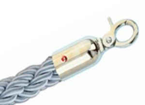 T106323 Grey rope with 2 chrome fixing hooks for crowd control post 1,5 meters