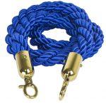 T106330 Cuerda azul 2 mosquetones de fijación color dorado para poste separador 1,5 m