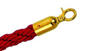 T601331 Cuerda roja burdeos 2 mosquetones color dorado para poste separador 1,5 m