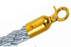 T106330 Cuerda gris 2 mosquetones de fijación color dorado para poste separador 1,5 m