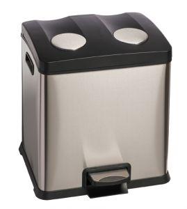 T106503 Cubo de basura con pedal para recogida selectiva DOBLE 2x12 litros