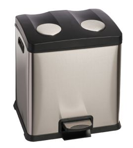 T106503 Recycling pedal bin DOUBLE 2x12 liters