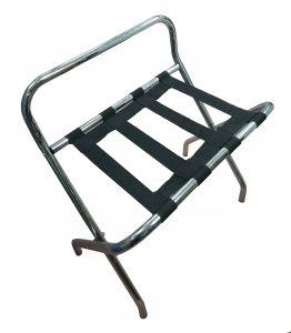 T107511 Soporte para maletas plegable con respaldo metal cromado/nylon