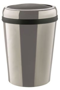 T109796 Swing paper bin Oval stainless steel bin with ABS lid 60 liters