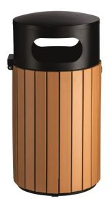 T110506 Papelera exterior redonda acero negro/poliestireno 40 litros