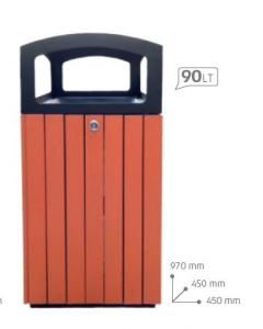 T110511 Square litter bin for outdoor spaces 90 liters