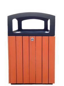 T110501 Poubelle carré extérieure acier noir/polystyrène 60 litres