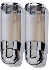 T110556 Mini liquid soap dispenser double 0,3+0,3 chromed ABS