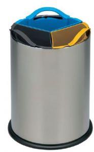 T110560 Corbeille de collecte sélective acier inox avec 3 seaux en polypropylène 3x4 litres