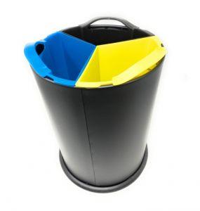 T110561 Corbeille de collecte sélective metal noir avec 3 seaux en polypropylène 3x4 litres