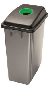 T114208 Waste bin with green upper opening lid