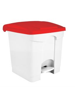 T115307 White Plastic pedal bin Red lid 30 liters (Pack of 3 pieces)