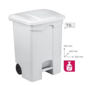T115570 Mobile plastic pedal bin White 70 liters