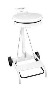 T601042 Portasacco mobile metallo bianco con coperchio e pedale