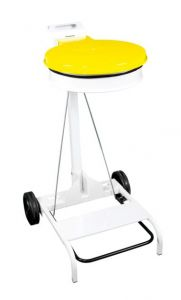 T601044 Portasacco mobile metallo bianco con coperchio GIALLO e pedale