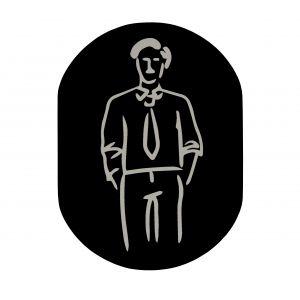 T709901 Placa pictograma aluminio negro Baños hombres