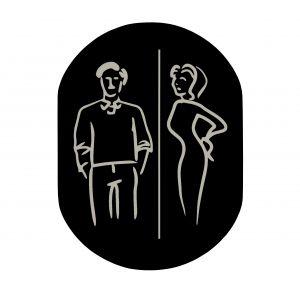 T709901 Placa pictograma aluminio negro Baños Hombres y Mujeres