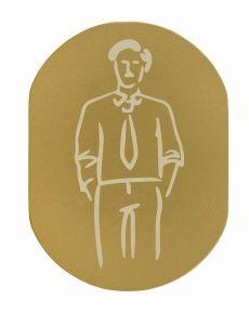 T709901 Placa pictograma aluminio dorado Baños hombres