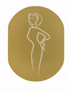 T709901 Placa pictograma aluminio dorado Baños mujeres