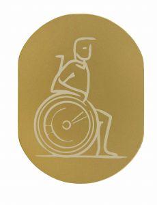 T719934 Plaque pictogramme aluminium doré Handicapé