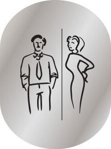 T709901 Placa pictograma aluminio satinado Baños Hombres y Mujeres