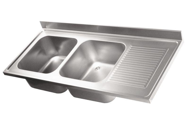 Top lavello in acciaio inox AISI 304. 2 vasche. 1 sgocciolatoio a ...