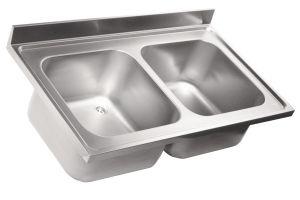 LV7017 Top lavello in acciaio inox AISI 304 dim.1300X700 2 vasche