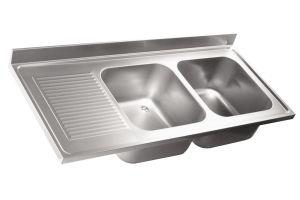 LV7037 Top lavello in acciaio inox AISI 304 dim.1600X700 2 vasche 1 sgocciolatoio SXL