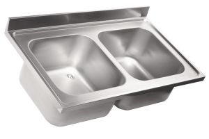 LV7041 Top lavello in acciaio inox AISI 304 dim.1700X700 2 vasche