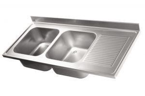 LV7046 Top lavello in acciaio inox AISI 304 dim.1800X700 2 vasche 500x500 1 sgocciolatoio DXL