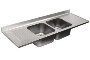 LV7064 évier en acier inox AISI 304 dim.2400X700 2 cuves 500x500 2 égouttoirs