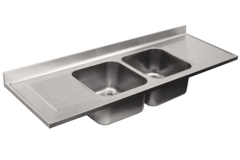 Top lavello in acciaio inox aisi 304 2 vasche 2 sgocciolatoi dim 2500x700 mm - Alzatina cucina acciaio ...