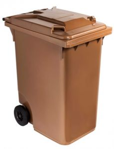 T766634 Brown Plastic waste container for outdoor on 2 wheels 360 liters