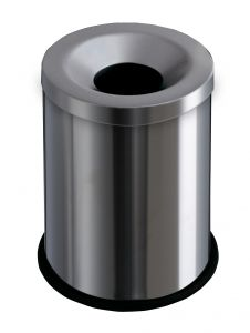 T770000 Brushed stainless steel fireproof paper bin 15 liters