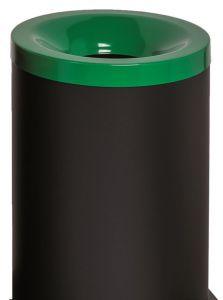 T770028 Fireproof paper bin Black steel with green colored lid 90 liters
