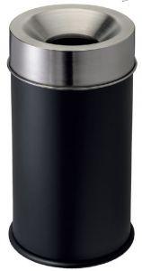 T770051 Papelera anti-fuego metal negro y tapa acero inox 50 litros