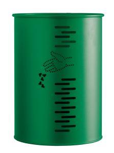 T778002 Green steel cylindrical swivel litter bin 22 liters