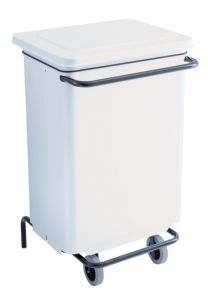 T791130 White Metal waste containers with pedal and wheels 70 liters