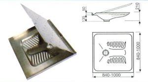 LX2040 Turca con doccia ribaltabile in acciaio inox 800x800x145 mm
