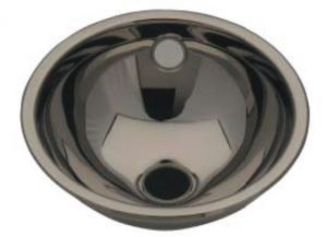 LX1010 Stainless steel spherical washbasin central drain 205x235x115 mm - SATIN -