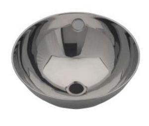 LX1200 Lavabo circolare bordo arrotolato in acciaio inox 360X370X155 mm -LUCIDO-