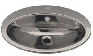 LX1260 Lavabo ovale con foro rubinetto in acciaio inox 530x450x160 mm -SATINATO -