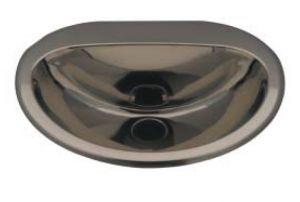 """LX1340 Lavabo ovale """"Cin"""" en acier inoxydable 465x400x155 mm - SATIN -"""