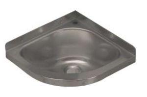 LX1460 Lavabo de esquina con agujero para grifo en acero inoxidable 360x360x208 mm - PULIDO -