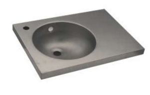 LX1550 Washbasin with stainless steel top 350x350x125 mm - SATIN -