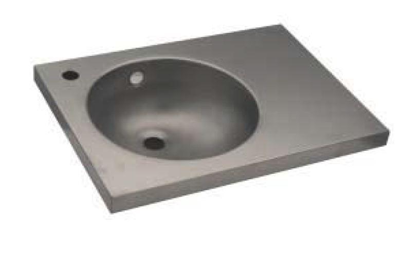 Lx1550 lavabo con piano in acciaio inox 350x350x125 mm for Satinato significato